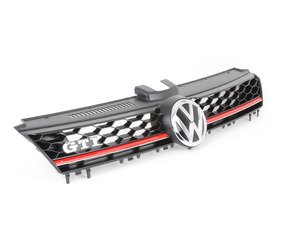 "ES#2737892 - 5GM853651HBTU - GTI Lighting Package Grille - With Red Strip - Satin black honeycomb with ""Tornado Red"" strip and ""VW"" and ""GTI"" badges - Genuine Volkswagen Audi - Volkswagen"