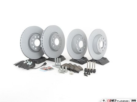 ES#2597950 - 1K0615301AA4C - Front & Rear Brake Service Kit (312x25/282x12) - Featuring Zimmermann rotors and Vaico pads - Assembled By ECS - Volkswagen