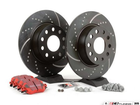 ES#2848971 - 1k0615601KT -  Rear Brake Service Kit (272x10) - Featuring EBC slotted and dimpled rotors and EBC Red Stuff pads - Assembled By ECS - Volkswagen