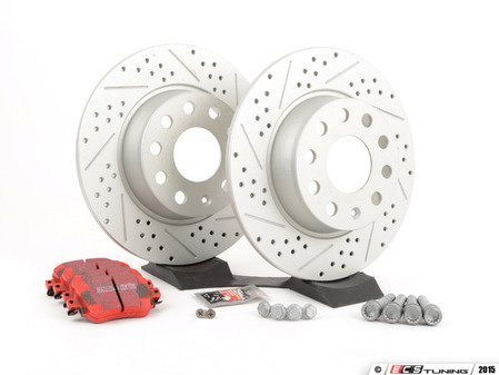 ES#2848996 - 1k0615601reKT - Rear Brake service kit (272x10) - Featuring ECS GEOMET drilled and slotted rotors and EBC RedStuff pads - Assembled By ECS - Volkswagen