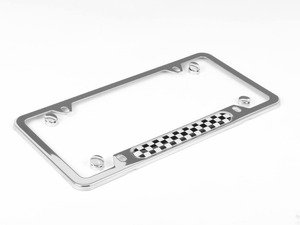 ES#130974 - 51800406645 - MINI Checkered License Plate Frame - Chrome - Priced Each - To add the checkered look - Genuine MINI - MINI