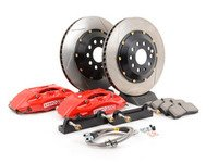 ES#3125142 - 83.893.4300.71 - StopTech Front Big Brake Kit - 2 Piece Slotted Rotors (328x28) - Featuring Red 4-piston calipers, caliper carrier brackets, pads, two-piece rotors, stainless steel lines, and hardware - StopTech - Audi Volkswagen