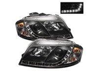 ES#2842083 - YDAA306DRLBK - Halogen Projector Headlight Set - Black - Features lower LED strip - Spyder - Audi