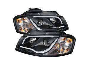 ES#2842085 - YDAA306LTDRLBK - Halogen Projector Headlight Set - Black - Features upper and lower LED tube - Spyder - Audi
