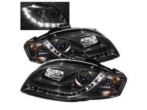 ES#2842098 - YDAA405DRLBK - Halogen Projector Headlight Set - black - Features LED bar style running lights - Spyder - Audi