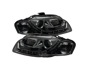 ES#2842100 - YDAA405DRLSM - Halogen Projector Headlight Set - smoked - Features LED bar style running lights - Spyder - Audi