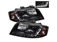 ES#2842130 - YDADA601DRLBK - Halogen Projector Headlight Set - Black - Features lower LED strip - Spyder - Audi