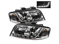 ES#2842131 - YDADA601DRLC - Halogen Projector Headlight Set - Chrome - Features lower LED strip - Spyder - Audi