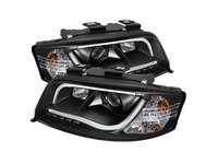 ES#2842132 - YDADA601LTDRLBK - Halogen Projector Headlight Set - Black - Features upper and lower LED tube - Spyder - Audi