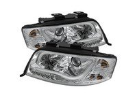 ES#2842133 - YDADA601LTDRLC - Halogen Projector Headlight Set - Chrome - Features upper and lower LED tube - Spyder - Audi