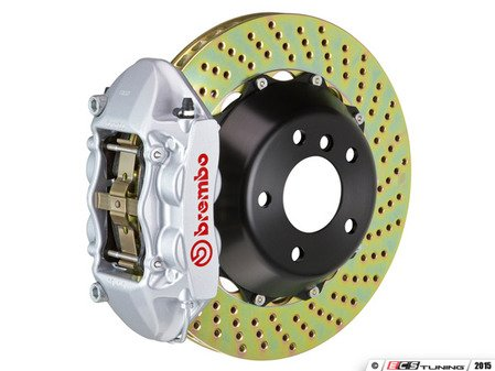 ES#2852988 - 1P1.8505A3 - Brembo GT Front Big Brake Kit - 2 Piece Drilled Rotors (365x29) - Featuring Silver 4 piston calipers, stainless brake lines, and Brembo Sport brake pads - Brembo - Volkswagen