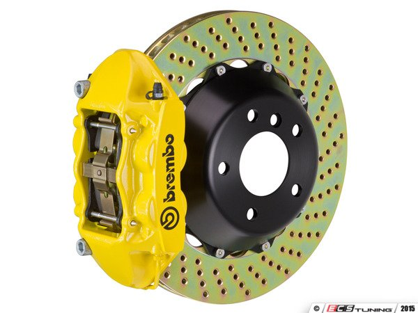 ES#3142566 - 1P1.8005A5 - Front Brembo GT 4 Piston Big Brake Kit (345x28mm) - Upgrade to 2 piece rotors (drilled), 4 piston calipers (Yellow), & high performance Brembo pads - Brembo - MINI