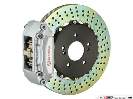 ES#3142477 - 1P1.8005A3 - Front Brembo GT 4 Piston Big Brake Kit (345x28mm) - Upgrade to 2 piece rotors (drilled), 4 piston calipers (silver), & high performance Brembo pads - Brembo - MINI