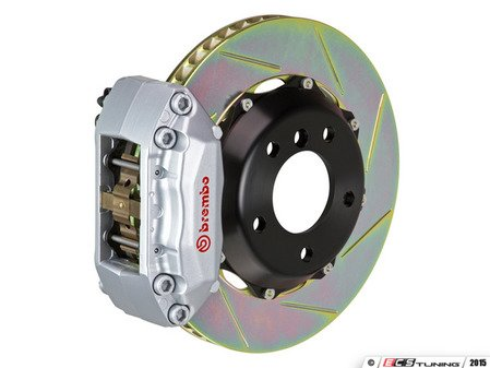 ES#2849168 - 1A2.6011A3 - Brembo GT Front Big Brake Kit - 2 Piece Slotted Rotors (328x28) - Featuring Silver 4 piston calipers, stainless brake lines, and Brembo Sport brake pads - Brembo - Volkswagen