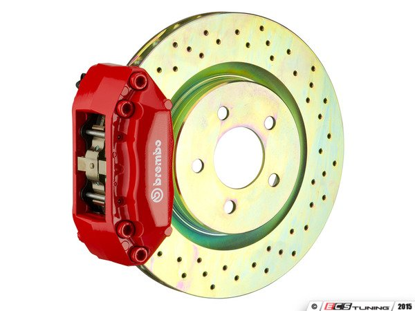 ES#3476983 - 1S4.8002A2 - Brembo GT Front Big Brake Kit - 1 Piece Drilled Rotors (345x30) - Featuring Red 4 piston calipers, stainless brake lines, and Brembo Sport brake pads - Brembo - Audi Volkswagen