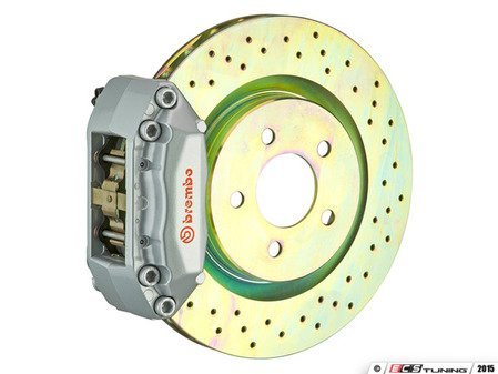 ES#2849240 - 1A4.6008A3 - Brembo GT Front Big Brake Kit - 1 Piece Drilled Rotors (330x28) - Featuring Silver 4 piston calipers, stainless brake lines, and Brembo Sport brake pads - Brembo - Volkswagen