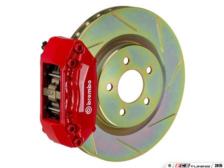 ES#2849252 - 1A5.6002A2 - Brembo GT Front Big Brake Kit - 1 Piece Slotted Rotors (323x28) - Featuring Red 4 piston calipers, stainless brake lines, and Brembo Sport brake pads - Brembo - Volkswagen