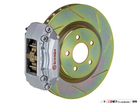 ES#2849259 - 1A5.6008A3 - Brembo GT Front Big Brake Kit - 1 Piece Slotted Rotors (330x28) - Featuring Silver 4 piston calipers, stainless brake lines, and Brembo Sport brake pads - Brembo - Volkswagen