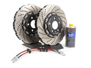 ES#2855151 - 003523KT01AKT - Front Brake Kit - Stage 1 - 2-Piece Tru-Float Wave Rotors (345x30) - Upgrade your brake system with 2-piece wave rotors and stainless steel lines - ECS - Audi