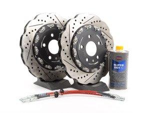 ES#2855161 - 003523ECS02AKT - Rear Brake Kit - Stage 1 - 2-Piece Tru-Float Wave Rotors (330x22) - Upgrade your brake system with 2-piece wave rotors and stainless steel lines - ECS - Audi