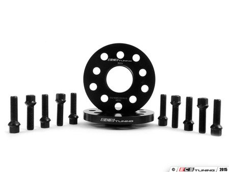 ES#2748193 - ECS10157KTWB1 - ECS Wheel Spacer & Bolt Kit - 15mm With Black Ball Seat Bolts - Includes everything you need to install spacers on two wheels - ECS - Audi Volkswagen