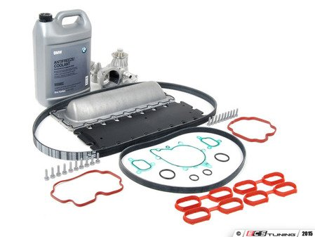 ES#2719001 - 11141742042KT3 - Valley Pan Service Kit - Level 2 - Every thing needed valley pan gasket replacement, including new drive belts, water pump, and valley pan gasket. Features an upgraded valley pan. - Assembled By ECS - BMW