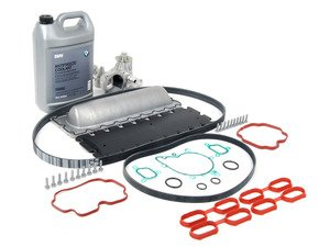 ES#2718979 - 11141742042KT1 - Valley Pan Service Kit - Level 2 - Every thing needed valley pan gasket replacement, including new drive belts, water pump, and valley pan gasket. Features an upgraded valley pan. - Assembled By ECS - BMW