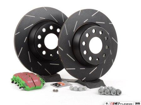 ES#2848982 - 5q0698451reaKT -  Rear Brake Service Kit (282x10) - Featuring EBC slotted rotors and EBC GreenStuff pads - Assembled By ECS - Volkswagen