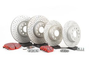 ES#2848956 - 1k0615301aaBKT - Front & Rear Brake service kit (312x25/272x10) - Featuring ECS GEOMET drilled and slotted rotors and EBC RedStuff pads - Assembled By ECS - Volkswagen