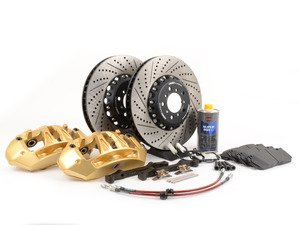ES#2857708 - 004038ECS02KT - Front 6-Piston Big Brake Kit (382x36mm) - Upgrade to gold 6-piston F80 M3 calipers, ECS 2-piece rotors, and stainless steel brake lines. Includes fluid and all hardware. - ECS - BMW