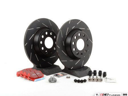 ES#2793042 - 1K0615601AD - Performance Rear Brake Service Kit (282x12) - Featuring EBC slotted rotors and EBC Redstuff pads - Assembled By ECS - Volkswagen