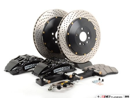 ES#3117736 - 83.114.6800.52 - StopTech Front Big Brake Kit (380x32) - Featuring Black 6 piston calipers, 2-Piece Drilled Rotors, stainless brake lines and Street performance brake pads - StopTech - Audi