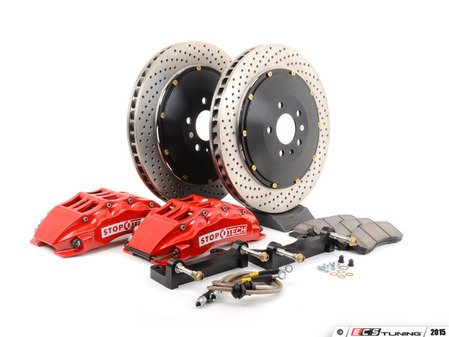 ES#3049138 - 83.152.6800.72 - StopTech front 6 piston big brake kit (380x32mm) - Comes with 6 piston red calipers, 2 piece uncoated drilled rotors and stainless steel brake lines. - Includes brackets and mounting bolts - StopTech - BMW