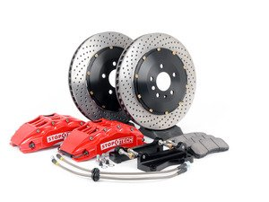 ES#3117720 - 83.114.6700.72 - StopTech Front Big Brake Kit (355x32) - Featuring Red 6 piston calipers, 2-Piece Drilled Rotors, stainless brake lines and Street performance brake pads - StopTech - Audi