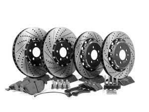 ES#2762615 - 001423ECS01AKT2 -  Performance Front And Rear Brake Service Kit (334x32/306x22) - Featuring front ECS 2-piece semi-floating cross drilled and slotted rotors, rear ECS Stage 1 - 2-piece cross drilled and slotted rotors with Hawk HPS pads - Assembled By ECS - Volkswagen