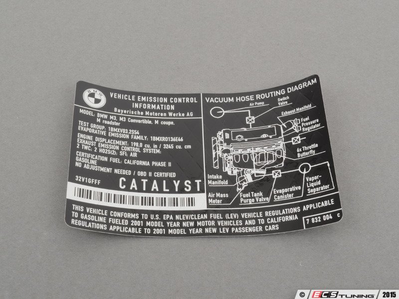 Genuine Bmw 71227832004 Emissions Label 71 22 7 832 004