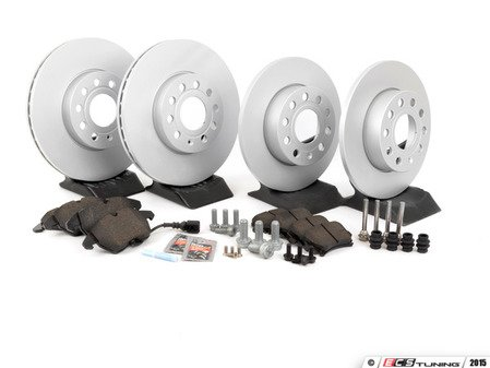 ES#257460 - 1K0698051 - Front & Rear Brake Service Kit (288x25/260x12) - Featuring Meyle rotors and Vaico pads - Assembled By ECS - Volkswagen