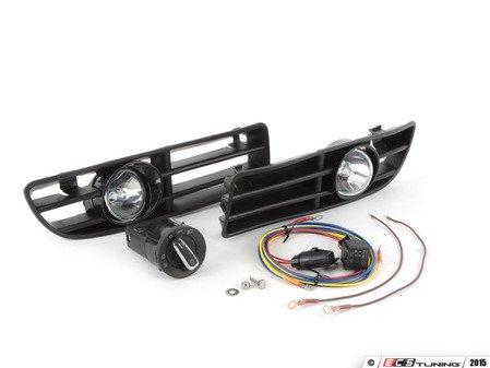 ES#10362 - 1j0998010 - Bumper Fog Light Kit - With Chrome Euro Switch - Kit includes bulbs, grilles with fog housings, harness, and European headlight switch with option for front fog lights - ECS - Volkswagen