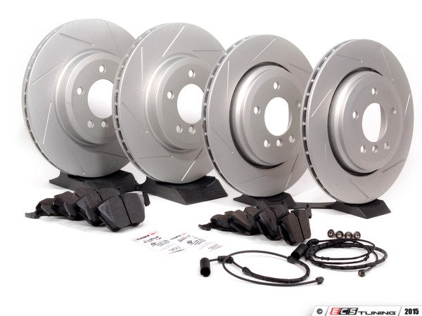 ES#2594517 - 34356751311KT3 - Performance Front And Rear Brake Service Kit - Featuring ECS GEOMET slotted rotors and Hawk HPS pads - Assembled By ECS - BMW