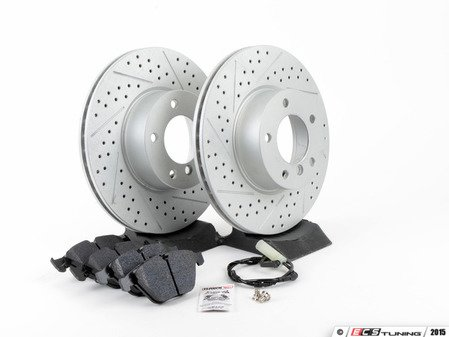 ES#2770190 - 3435678944CDKT3 - Performance Front Brake Service Kit - Featuring ECS GEOMET cross drilled and slotted rotors and Hawk HPS pads - Assembled By ECS - BMW