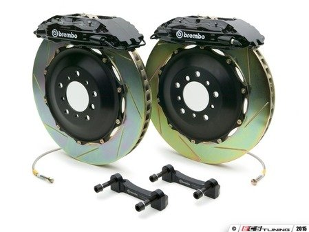 ES#2849497 - 1B2.7017A1 - Brembo GT Front Big Brake Kit - 2 Piece Slotted Rotors (332x32) - Featuring Black 4 piston calipers, stainless brake lines and Brembo Sport brake pads - Brembo - Audi