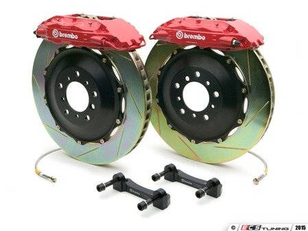 ES#2849498 - 1B2.7017A2 - Brembo GT Front Big Brake Kit - 2 Piece Slotted Rotors (332x32) - Featuring Red 4 piston calipers, stainless brake lines and Brembo Sport brake pads - Brembo - Audi