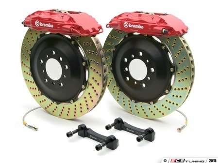 ES#2849315 - 1B1.8002A2 - Brembo GT Front Big Brake Kit - 2 Piece Drilled Rotors (355x32) - Featuring Red 4 piston calipers, stainless brake lines and Brembo Sport brake pads - Brembo - Audi