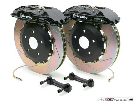ES#2849503 - 1B2.8002A1 - Brembo GT Front Big Brake Kit - 2 Piece Slotted Rotors (355x32) - Featuring Black 4 piston calipers, stainless brake lines and Brembo Sport brake pads - Brembo - Audi