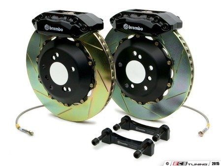 ES#2849157 - 1A2.6007A1 - Brembo GT Front Big Brake Kit - 2 Piece Slotted Rotors (328x28) - Featuring Black 4 piston calipers, stainless brake lines and Brembo Sport brake pads - Brembo - Audi