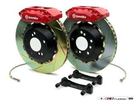 ES#2849158 - 1A2.6007A2 - Brembo GT Front Big Brake Kit - 2 Piece Slotted Rotors (328x28) - Featuring Red 4 piston calipers, stainless brake lines and Brembo Sport brake pads - Brembo - Audi
