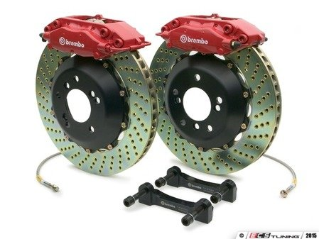 ES#2853228 - 2C1.6014A2 - 12+ CLS350 (C218), 10+ E350 Sedan (W212), Rear, Drilled, Red, 4 Piston, 328x28 2-Piece - Brembo -