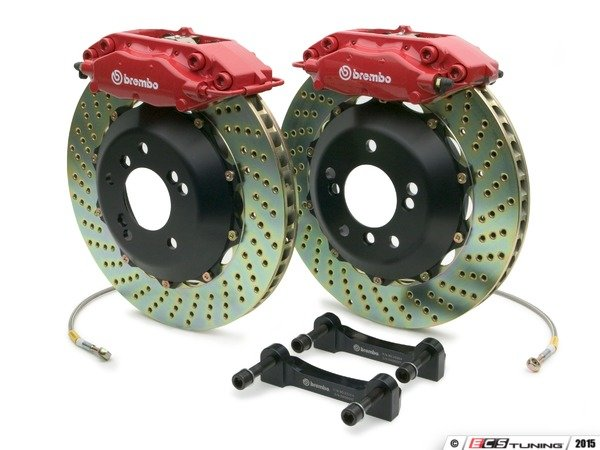 ES#2853204 - 2C1.6001A2 - Brembo GT Rear Big Brake Kit - 2 Piece Drilled Rotors (328x28) - Featuring Red 4 piston calipers, stainless brake lines and Brembo Sport brake pads - Brembo - Audi