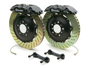 ES#2850076 - 1H1.8004A1 - Brembo GT Front Big Brake Kit - 2 Piece Drilled Rotors (355x32) - Featuring Black 4 piston calipers, stainless brake lines and Brembo Sport brake pads - Brembo - Audi