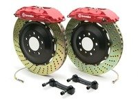 ES#2850077 - 1H1.8004A2 - Brembo GT Front Big Brake Kit - 2 Piece Drilled Rotors (355x32) - Featuring Red 4 piston calipers, stainless brake lines and Brembo Sport brake pads - Brembo - Audi